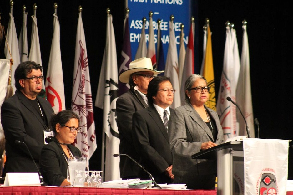 Election officials at the Assembly of First Nations oversaw three rounds of voting for the national chief. (Photo: Ben Powless)