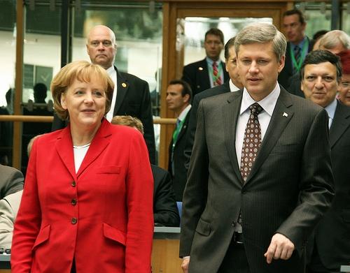 Prime Minister Stephen Harper and Chancellor Angela Merkel.