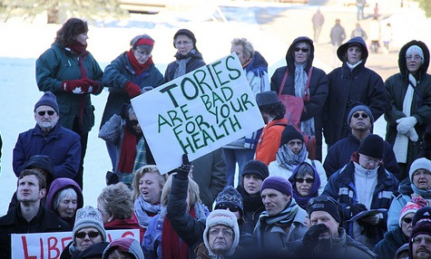 A sign at the December 4, 2010 Rally for Public Healthcare at the Alberta Legislature.(Photo:  dave.cournoyer / flickr)