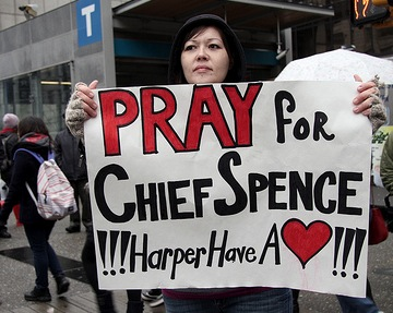 A sign at a Vancouver Idle No More rally. (Photo: Tamara Herman)