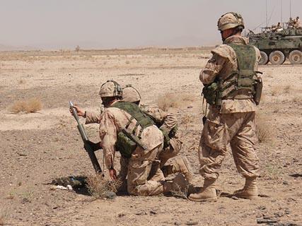 Canadian mortar crew at Tarnak Farms outside Kandahar Air Field in 2006. Photo:  lohan1025/Flickr