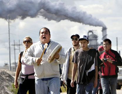 A walk around refineries near Fort McMurray to heal the tar sands took place in Aug. 2010. Photo: Jason Franson.