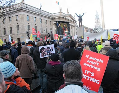 Irish protesters march through Dublin against the deal struck between their government and the IMF and European Central Bank on Nov. 27.  To the left is the GPO -- the General Post Office -- the headquarters of 1916 uprising. Photo: lusciousblopster