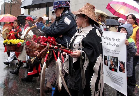 The 20th anniversary of the missing and murdered women memorial march in Vancouver. Photo: Kim Elliot.