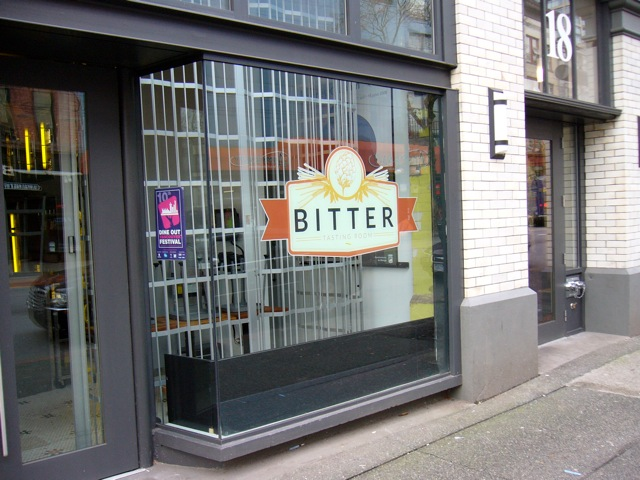 Bitter Tasting Room, Sean Heather's upscale pub on Hastings St., exemplifies the bitter taste of gentrification and exclusion for Downtown Eastside low-income residents. Photo: Dave Diewert