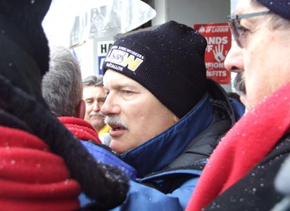 NDP leader Jack Layton at a large rally to support locked-out steelworkers in Hamilton, Ont. on Saturday, Jan. 29. Photo: Jessica Rose.