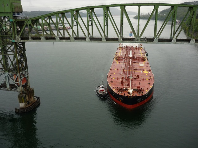 Kinder Morgan's plans would see close to one oil tanker a day passing through the narrows of Vancouver's harbour. (Photo: http://www.bcwaters.org/)