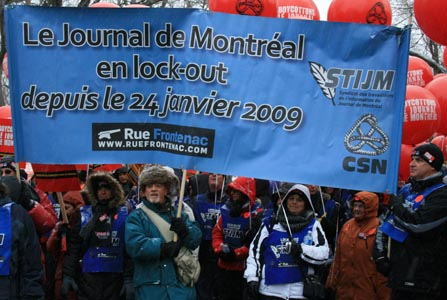 A Dec. 4, 2010 solidarity demonstration for journalists and staff at Le Journal de Montreal. Photo: Ted Sprague