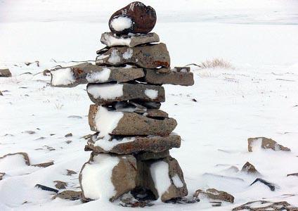An inukshuk in Nunavut. Photo: jumpyjoad/Flickr