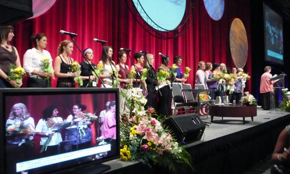 The thank you panel, Women's Worlds 2011. Photo: Elizabeth Littlejohn