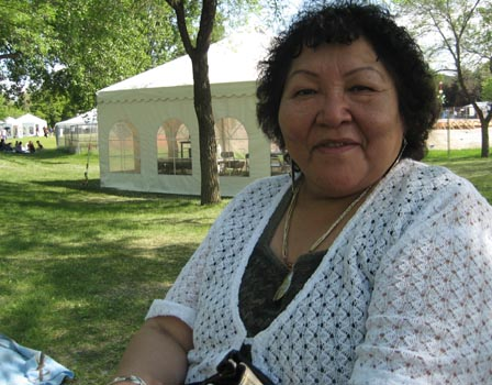 Ruth Scalplock, a 66-year-old residential school survivor, came from Alberta's Siksika Nation to Winnipeg to attend the opening of the Truth and Reconciliation Hearings. 'I want to support the survivors,' she says.  Photo: Kaj Hasselriis.