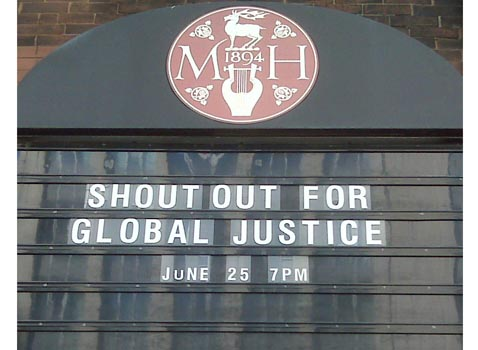 Massey Hall, the scene for Shout Out for Global Justice! on June 25. Photo: Carleen Pickard/Council of Canadians
