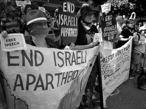 Over 100 protesters showed up at a Toronto Pride press conference Tuesday to voice their displeasure after the Board of Directors voted last week to forbid the use of the term 'Israeli Apartheid' at this year's Pride Parade.