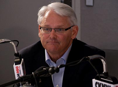 B.C. Premier Gordon Campbell on the radio during the 2009 B.C. election campaign. Photo: Stephen Dyrgas/Flickr
