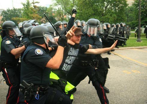An arrest at Queen's Park during the G20 protests on Sat. June 26, 2010. Photo by Ben Powless