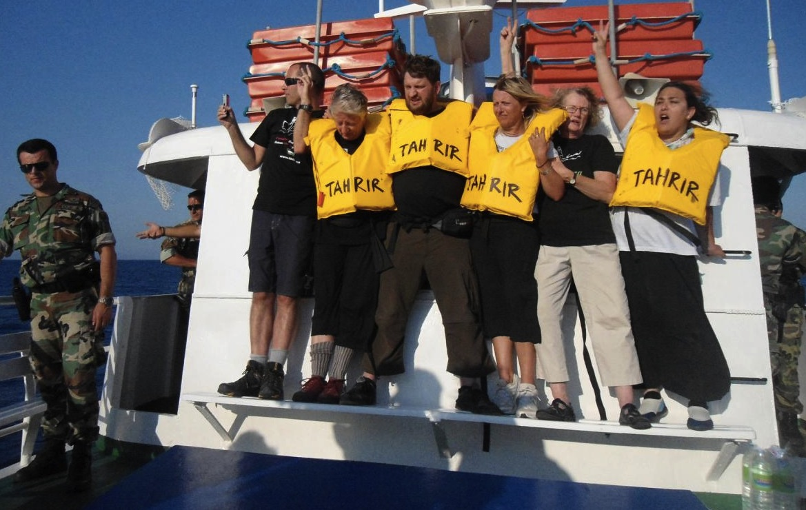 July 4, 2011. Activists on board the Tahrir, which was prevented from sailing by the Greek authorities. (Photo: Tahrir.ca)