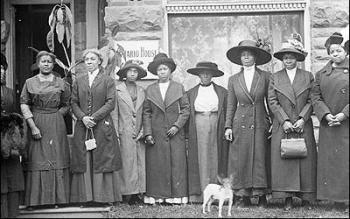 Women in front of YWCA's Ontario House, 698 Ontario Street - ca. 1912.